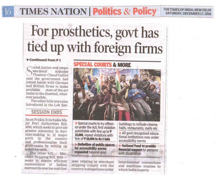 For porsthetics, govt has tied up with foreign firms