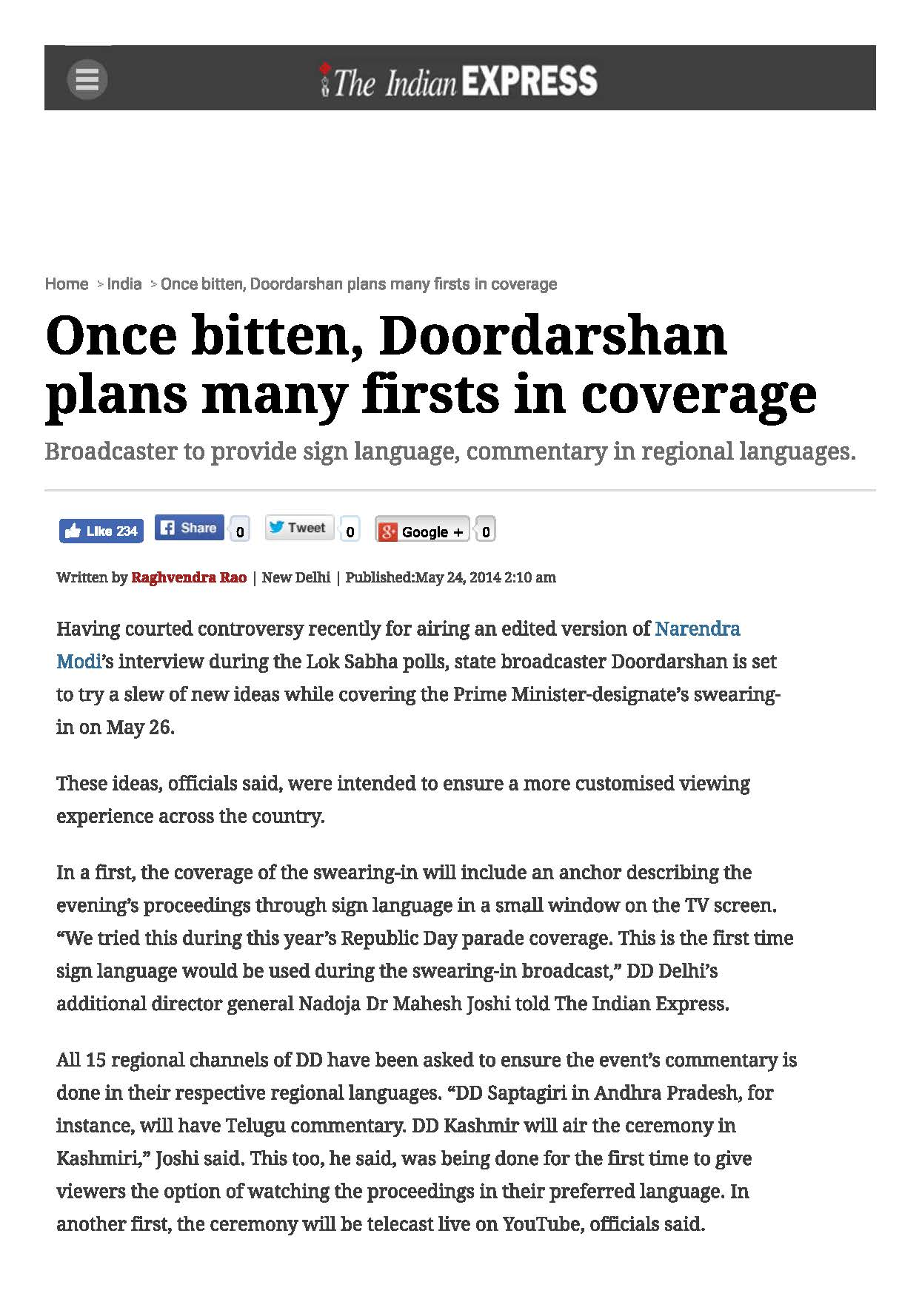Once bitten, Doordarshan plans many firsts in coverage