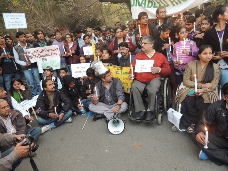 Dharna for Save the Rights of Persons with Disabilities Bill 2013