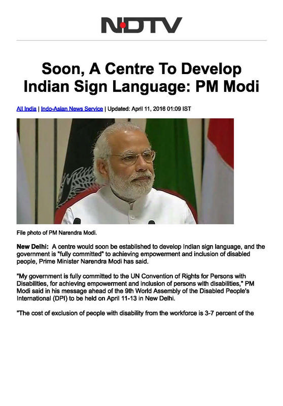Soon, A Centre To Develop Indian Sign Language PM Modi