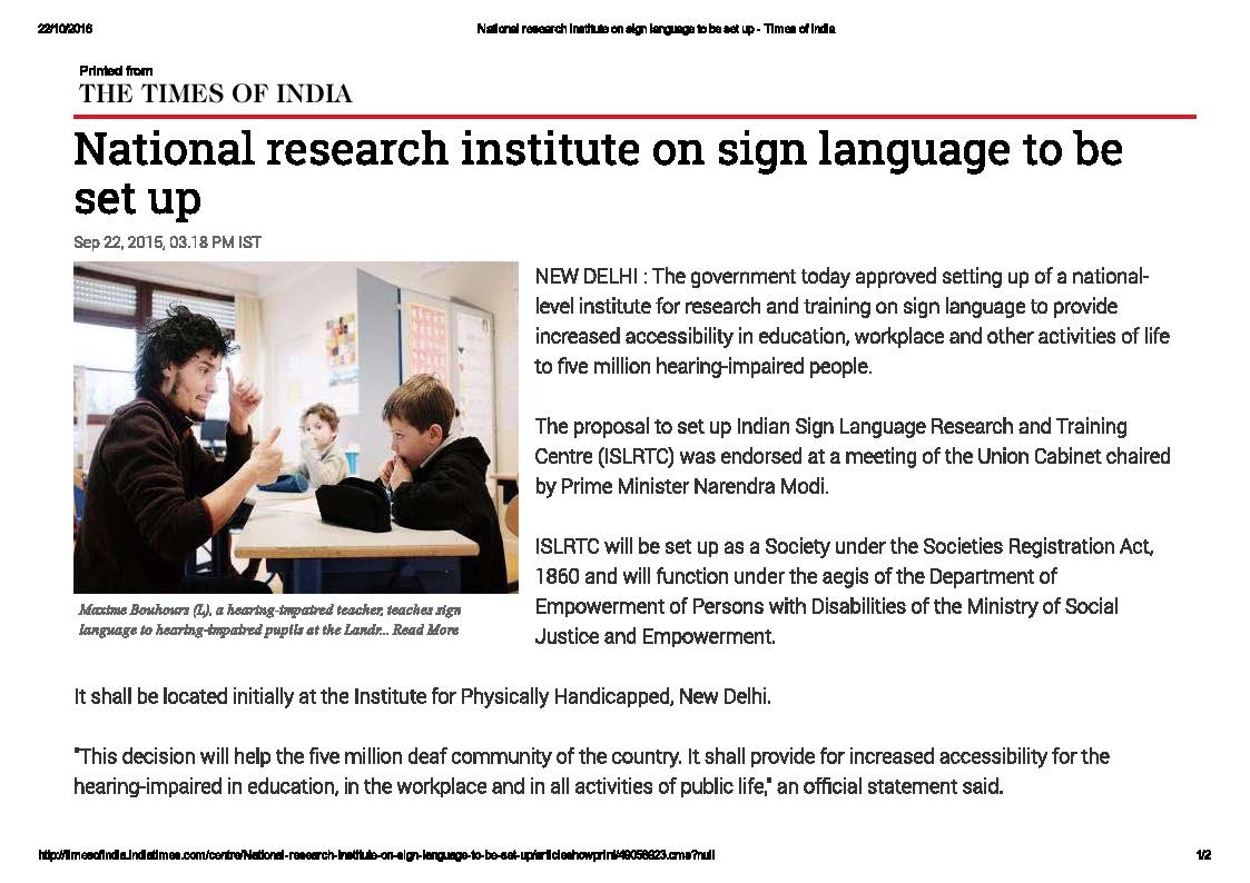 National Research Institute on Sign Language to be set up
