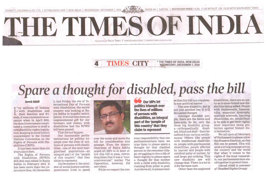 Spare a thought for Disable, pass the bill