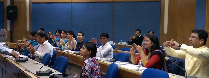 Workshop on Indian Sign Language for 25 Hearing Employees of Hans Foundation