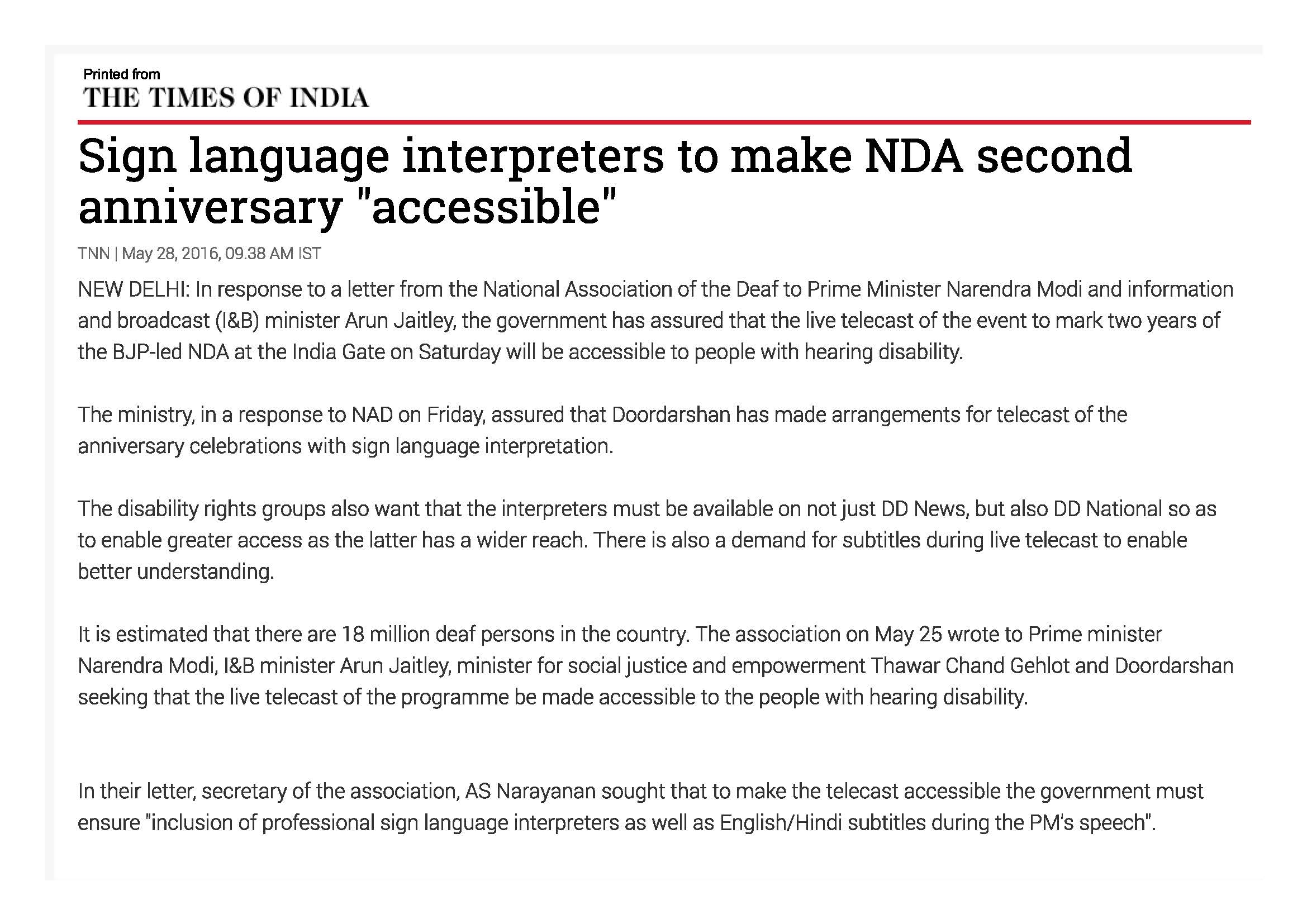 Sign language interpreters to make NDA second anniversary accessible