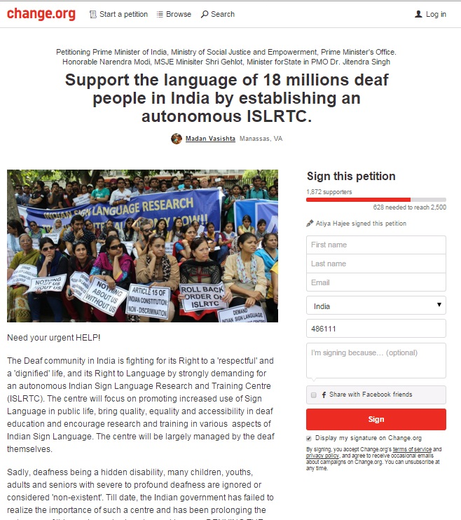 Support the language of 18 millions deaf people in India by establishing an autonomous ISLRTC