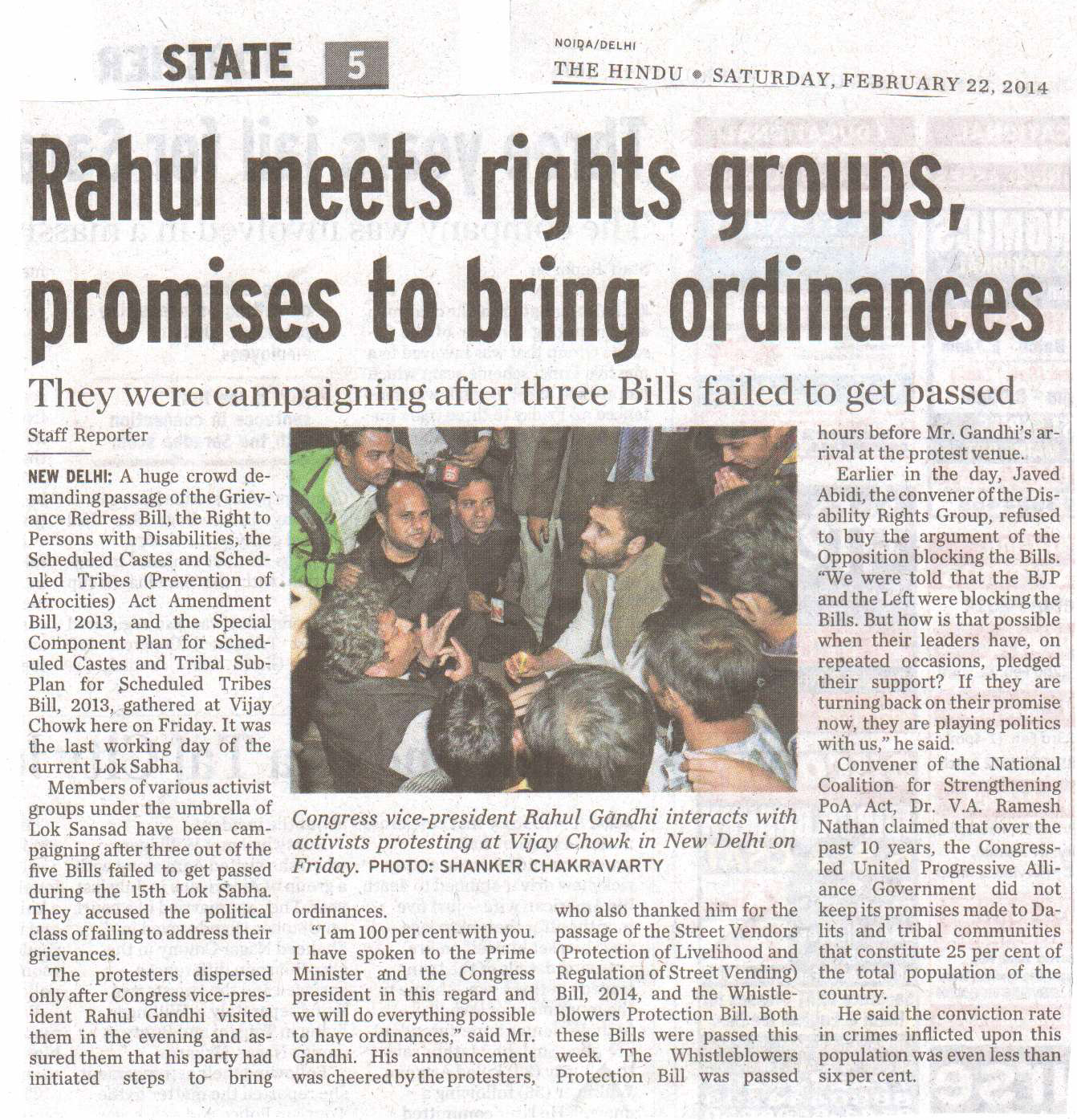 Rahul meets rights groups, promises to bring ordinances