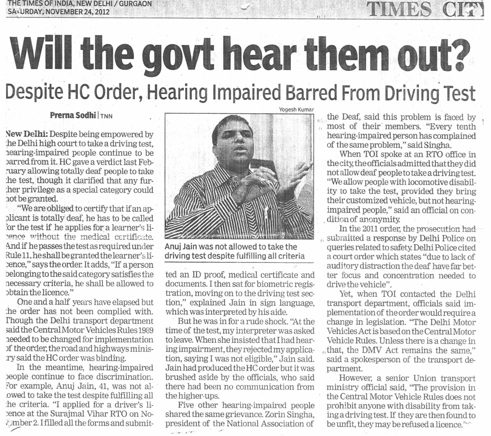 Will the govt hear them out? Despite HC Order, Hearing Impaired Barred From Driving Test