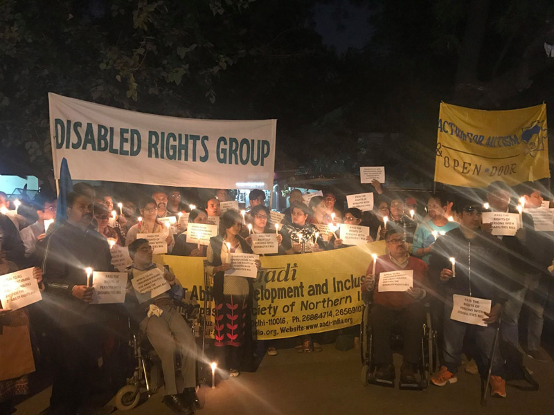 Candlelight vigil seeking early passage of Bill for RPWD