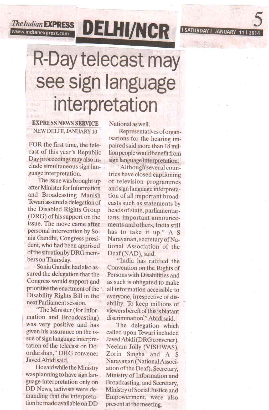 R-Day telecast may see sign langauge interpretation