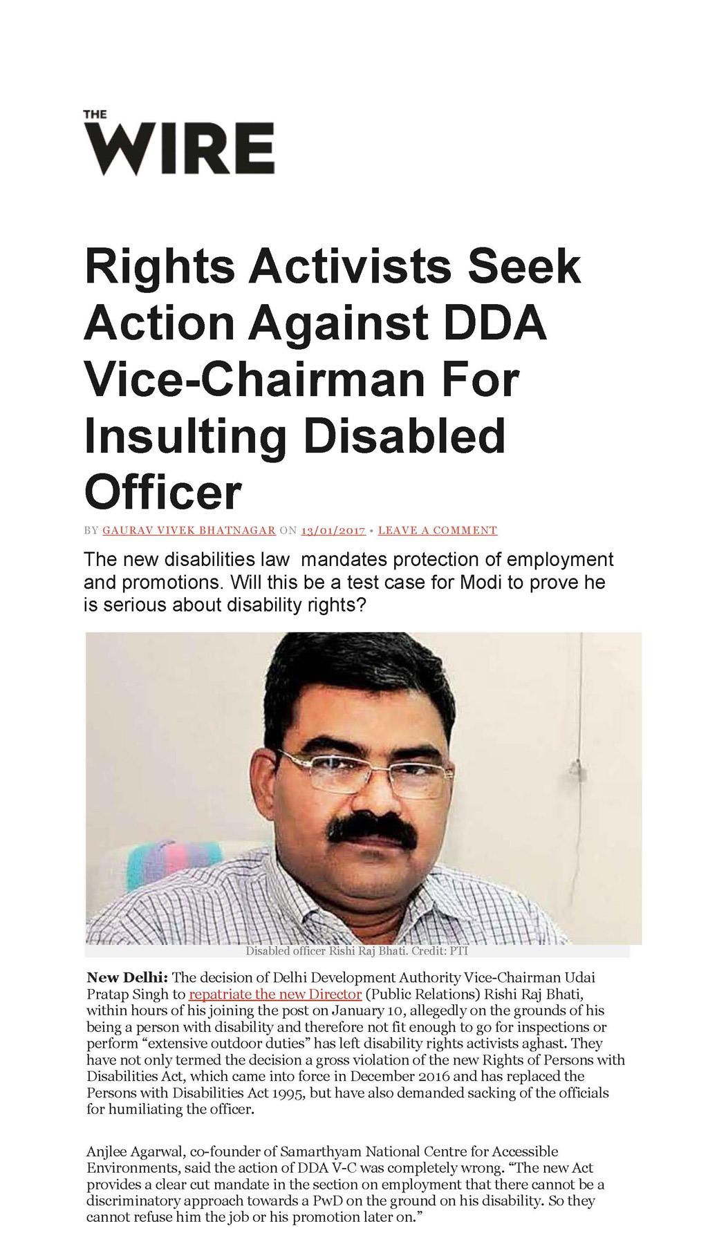 Rights Activists Seek Action Against DDA Vice-Chairman For Insulting Disabled Officer