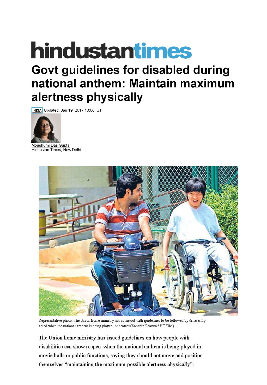 Govt guidelines for disabled during national anthem: Maintain maximum alertness physically